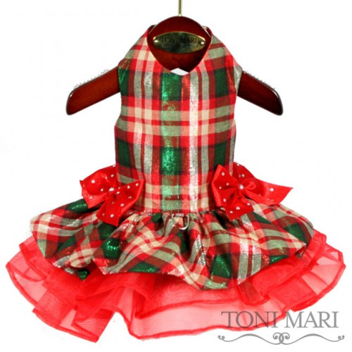Tonimari Dress Holiday Plaid Green Red
